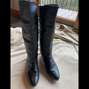 Vintage black cuff boots, 80's, 9.5M like new